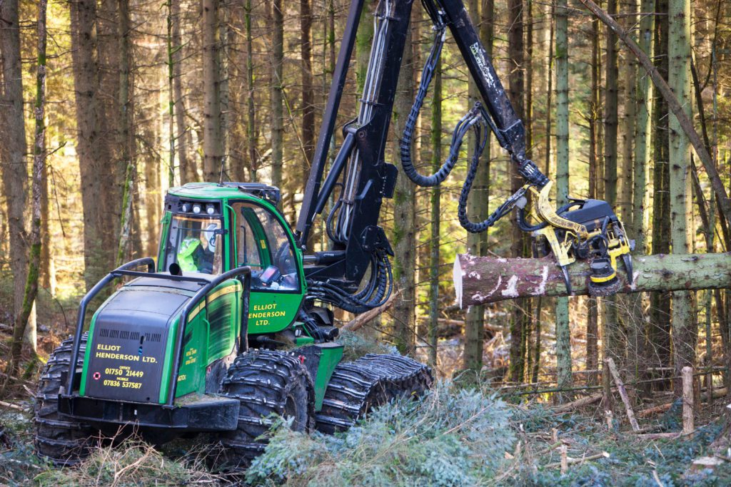 A forwarder working in a forest.