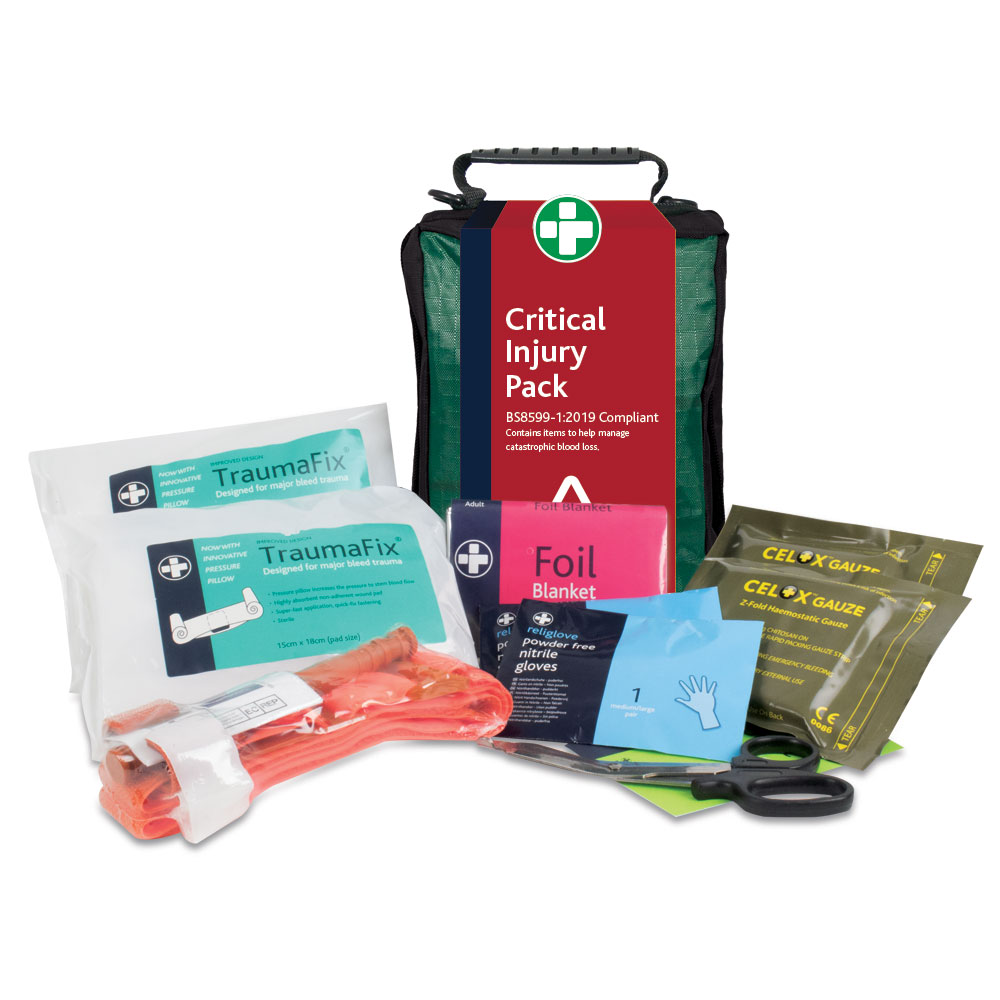 A Critical injury pack including haemostatic bandages, a tourniquet and medical scissors